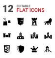 12 royal icons vector image vector image