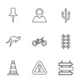 9 road icons vector image vector image