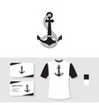 anchor logo design with business card and t shirt vector image