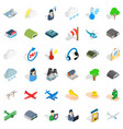 aviation icons set isometric style vector image vector image