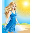 Beautiful Girl Walking Along the Beach vector image vector image