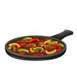 beef fajitas with colorful bell peppers in pan vector image