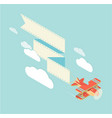 biplane with ribbon square vector image vector image