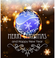Blue Christmas ball on a holiday background vector image vector image