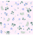 blue flowers on pink bg floral pattern vector image