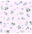 blue flowers on pink bg floral pattern vector image vector image