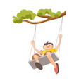Boy on swing that tied to tree branch