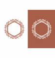 brown hexagon with ornament logo vector image