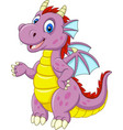 cartoon baby dragon presenting vector image vector image