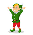 cartoon christmas elf stands with hands up vector image vector image