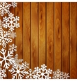 Christmas background with snowflakes on planks vector image vector image
