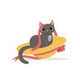 cute funny gray cat playing with straw hat and vector image