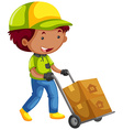 Deliveryman delivering two packages vector image