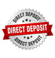 direct deposit round isolated silver badge vector image vector image