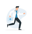 doctor medical emergency hurrying to help the vector image