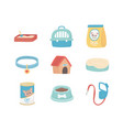 domestic sandbox collar bed case food package paw vector image vector image