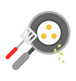 Eggs Fried in a Pan Isolated flat style vector image vector image