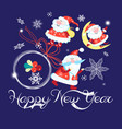 festive christmas card with santa claus vector image vector image