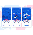 flat design oneboarding concepts - cycling app vector image