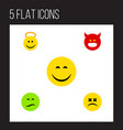 flat icon emoji set of frown pouting cross-eyed vector image vector image