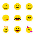 flat icon emoji set of laugh angel cross-eyed vector image vector image