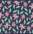 flowers and foliage hand drawn seamless pattern vector image