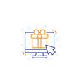 gift box on screen e-commerce line icon vector image