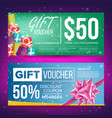 gift voucher horizontal coupon design vector image vector image