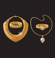 golden jewelry pieces made gold necklaces set vector image