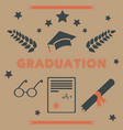 graduation package retro design black and orange vector image