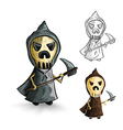 halloween isolated sketch style reapers vector image