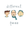 hand drawn different male faces collection vector image vector image