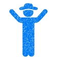 Hands Up Gentleman Grainy Texture Icon vector image vector image