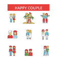 happy couple thin line icons linear vector image vector image