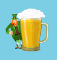 happy stpatrick s day leprechaun and mug beer vector image