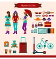 Hipster Girl Set vector image vector image