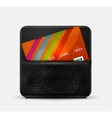 Leather wallet for credit cards vector image