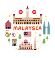 malaysia travel attraction label vector image vector image