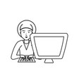 man with desktop computer isolated icon vector image vector image