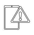 mobile warning alert on white background vector image