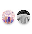 modern cityscapes and fireworks round badges vector image vector image
