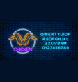 neon glowing sign of chicken wings in circle vector image