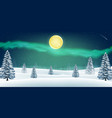 night winter snow forest hill with aurora in sky vector image