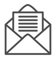opened envelope line icon mail letter with paper vector image vector image