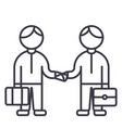 partnership handshakeworking together line vector image vector image