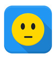 Pensive yellow smile app icon with long shadow vector image