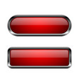 red buttons 3d glass icons with chrome frame vector image vector image