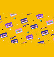repeat pattern retro tape cassettes on yellow vector image
