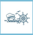 sailing badge with handwheel vector image vector image