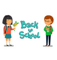 schoolboy and schoolgirl with back to vector image vector image
